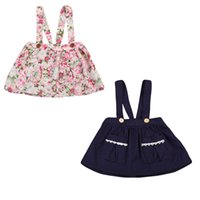 Wholesale girl skaters - Baby Girls Floral Print Belted Skater Dress Kids Cute Summer Sleeveless Pockets Clothing Girl Autumn Party Dresses 6M-3Years