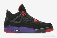 Wholesale flat soccer ball - 2018 Dernières 4 IV Raptors Chaussures Basket-ball Shoes 4s Black University Red-Court Purple Logo Mens Outdoor Sneakers Trainers AQ3816-056