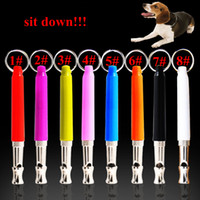 Wholesale Ultrasonic Sounds - 8 Colors Dog Ultrasonic Whistles Pet Dog Cat Training Obedience Colorful Supersonic Sound Pitch Quiet Trainning Whistles AAA462