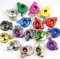 spinnen keychain großhandel-Turbo Keychain Kreative Heiße Auto Teile Modelle Spinnerei Gunmetal Turbine Turbolader Schlüsselanhänger Ring GGA472 50 STÜCKE