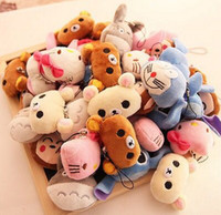 Wholesale Bear Hello - Hot Sell - Wholesale 40pcs.lot , hello kitty , rilakkuma bear etc. 4*3CM Plush Stuffed TOY String TOY Key Chain Plush