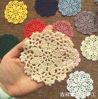 Wholesale vintage crochet table mats - 50pcs Pack Vintage Diy Handmade 11cm Round Table Mat Crochet Coasters Zakka Doilies Cup Pad Props