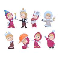 Wholesale masha bear toys - 8pcs set 5cm Masha & The Bear Masha and Bear PVC Action Figures Toys Gifts for Kids Children