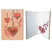 lazer kesme kalpler davetiyeler toptan satış-Giftgarden Ahşap Ajur Gravür Güller ve Kalp Tebrik kartı Lazer Kesim Düğün davetiyeleri
