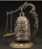 Wholesale china brass ship for sale - Group buy SUPERB VINTAGE DECORATED HANDWORK COPPER CARVED DRAGON WONDERFUL BELL STATUE