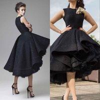 arabische freie kleider großhandel-Abendkleider Jewel Sleeveless High Low Party Kleider 2019 Modest Handmade Flower Dubai Arabisch Prom Homecoming Kleid Freies Verschiffen
