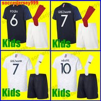 Wholesale Boys Red Tops - TOP quality GRIEZMANN MBAPPE Kids kit soccer jersey boys child world cup 2018 POGBA UMTITI LACAZETTE football shirt uniforms maillot de foot