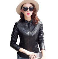 Wholesale Pu Strip - 2017Hot Sale Spring Autumn Fashion Brand Women Faux Leather Jacket Zipper Motorcycle Leather Coat Slim Short Design Jacket FC261