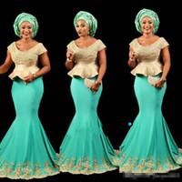 peplum stil formale kleider großhandel-Aso Ebi Style Mint afrikanisches Schößchen Abendkleid Nigerianischen Stil Dame Abend Party Kleid mit kurzen Ärmeln Formelle Party Kleid Meerjungfrau Anlass
