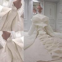 desmontagem fora do ombro vestido de renda venda por atacado-Luxo Ruffles Vestidos de Casamento 2018-2019 Lace Off The Shoulder Capela Vestidos de Noiva Com Trem Destacável Custom Made Vestidos De Casamento