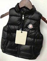ingrosso giacca invernale-Gilet invernale di marca per bambini Ragazzi Ragazze Gilet di spessore Cappotto Colletto rigido Bottone pieno imbottito Cappotto caldo senza maniche