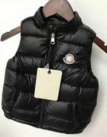 yaka yaka yelek toptan satış-Marka Kış Çocuk Yelek Erkek Kız Kalın Yelek Ceket Standı Yaka Katı Düğme Yastıklı Sıcak Kolsuz Ceket kaban
