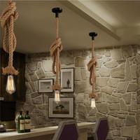 ingrosso luci di uve esterne-Lampade a sospensione a LED in corda d'epoca E27 Lampada da soffitto a loft industriale per interni Cafe Restaurant Bar Corridor Decoration Lighting
