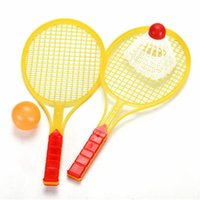 Wholesale baby table toys for sale - 1 Set Novelty Child Dual Badminton Tennis Racket Baby Bed Toy Educational Toys Kids Table Tennis Sports Parent Child Sports