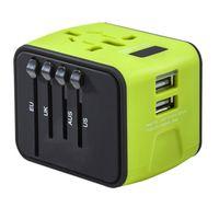plug em todo o mundo venda por atacado-Preço barato Adaptador de Viagem Universal All-in-one Carregador de Viagem Internacional 2.4A Dupla USB Worldwide Plug Carregador de Parede bom item