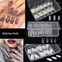 Wholesale round oval nails - Wholesale 100pcs+Box Ballerina Coffin Nail Tips Artificial False Fake Nails DIY Salon Oval Nails Tips Round Full Cover Color Tips False Nail