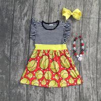 ingrosso abiti di corrispondenza neri gialli-2018 nuova ragazza bambini abbigliamento vestito da baseball strisce nere vestiti da boutique di baseball giallo disponibili con accessori coordinati