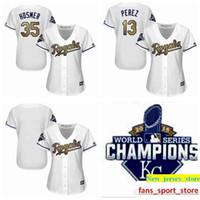 78f388fa8 35 Eric Hosmer 13 Salvador Perez Blank Womens Royals Baseball Jersey White  2015 World Series Champions Gold Program
