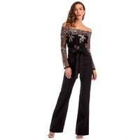 cb49f269972d 2018 Donne Sexy Off Spalla sequin Mesh Pagliaccetti Womens tuta manica  lunga elegante Tute per le donne autunnali tute