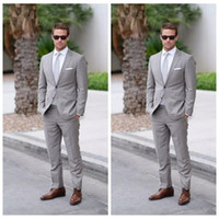 Wholesale check suits for men - 2018 Formal Wedding Men Tuxedos Slim Fit Custom Bridegroom Tuxedos For Men Two Piece Groomsmen Suit Cheap Business Jackets + Pants +Tie