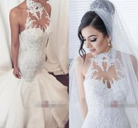 Wholesale elegant halter lace wedding dress for sale - Newest Elegant Mermaid Wedding Dresses Halter Sleeveless Illusion Bodice Court Train lace up Applique Plus Size Wedding Gown