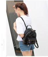 einfache mädchen rucksäcke schwarz großhandel-Mode-Rucksack-feste Taschen PU-Leder Reißverschluss Plain Thread Schwarz Graue Farbe Zwei Größe für Mädchen