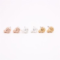 Wholesale gold skull studs - Fashion Punk style solid skull stud earrings Street elements gold stud earrings retail and wholesale mix