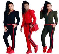 Wholesale Red Black Sweat Pants - Two Piece Set 2018 Tracksuit Women Full Sweat Suits Long Sleeve Top + Pants 2 Piece Set sportwear casual set for Women