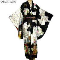 siyah kimono çiçekler toptan satış-Ücretsiz Kargo Siyah Japon kadın Kimono İpek Rayon Kimono Çiçekler Mujeres Quimono Toptan ve perakende H0007
