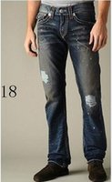 Wholesale Tr Jeans - New 2018 Men's True Jeans ROBIN High Quality Trousers Denim Designer Dark Solid color Straight tr Jean For Men Pants Free Shipping