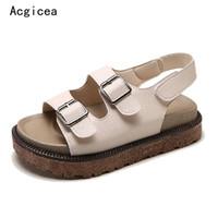 Wholesale Best Platform Shoes - 2018 New Summer Women Platform Flats Best Quality Flat Heel Jeans Shoes Woman Comfortable Ladies 2 Buckle Hook & Loop Sandals