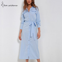 Wholesale Zoe Dresses - Zoe Saldana 2018 Women Long Sleeve Single Breasted Fashion Dresses Elegant Office Lady Mid-calf Vestidos Dresses