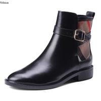 d2e07386449b90 stilvolle absatzschuhe schwarz großhandel-Yifsion Neue Stilvolle Frauen  Leder Stiefeletten Sexy Low Heels Stiefel Schöne