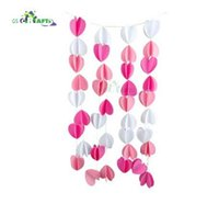 bebé papel 3d al por mayor-3D rosa claro blanco fiesta de cumpleaños de papel colgando Bunting Banner Flag Baby Shower Party Decor Banners