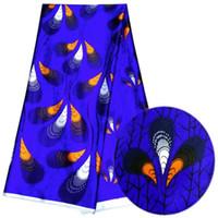 tecido de impressão de penas de seda azul venda por atacado-5 Metros / pc venda Quente azul royal chiffon tecido de renda de seda impresso padrão de penas Africano tecido de rayon suave para o vestido LBS2-6
