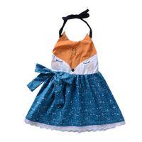 ropa de bebé zorro al por mayor-2018 Ins Baby Girl Dresses Fox Bow Vestido de encaje Ropa de niñas Cabestro sin respaldo Verano exportado 2-6 años