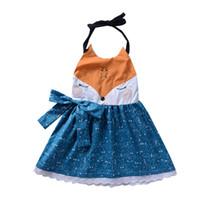 bebek giyim tilki toptan satış-2018 Ins Bebek Kız Elbiseler Tilki Yay Dantel elbise Kız elbise Halter Backless Yaz Ihracat 2-6years
