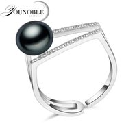 ingrosso anello naturale della perla reale-Anello da donna in vera pelle nera naturale 100% d'acqua dolce, anello da donna in argento sterling 925 regolabile