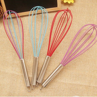 Creative Kitchen Tool Wire Whisk Stirrer Mixer Egg Beater Colorful Silicone Egg Whisk Stainless Steel Handle