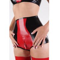 lingerie fetiche quente venda por atacado-Xs-xxl hot sexy mulheres cintura alta vermelho emendado lingerie látex virilha zipper shorts cuecas tangas fetiche traje