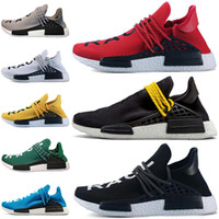 Wholesale mens trail running shoes online - Human Race HU Trail Running Shoes Mens Women Pharrell Williams Runner Yellow Black White Red Green Grey Blue Sports Sneakers Big Size