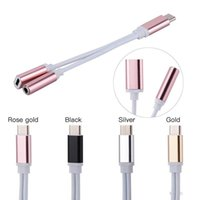 tipos de conectores jack venda por atacado-2 em 1 carregador e tipo de áudio c fone de ouvido fone de ouvido adaptador de cabo de conector 3.5mm aux fone de ouvido jack adaptador de áudio para samsung