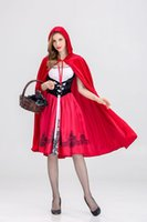 Wholesale red riding hood woman costume for sale - Halloween Women New Cosplay Dress Little Red Riding Hood Lolita Cosplay Costume Female Funny Evening Party Clothes