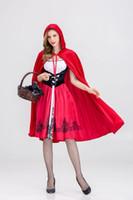 nuevos disfraces divertidos de halloween al por mayor-Las mujeres de Halloween Nuevo Cosplay Vestido Caperucita Roja Lolita Cosplay Disfraz Femenino Divertido Ropa de Fiesta de Noche