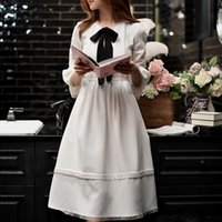 kore şifon elbiseler stil uzun toptan satış-Dabuwawa Kadınlar Parlama Kollu Şifon Elbise Yeni Beyaz Yay Uzun Midi elbise Tiki Kore Tarzı Parti