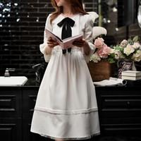 ingrosso il vestito chiffon coreano stile lungo-Dabuwawa Women Chiarore Sleeve Chiffon Dress New White Bow Long long dress Preppy stile coreano Party