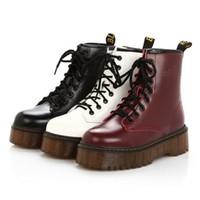 pamuk çizme bağcıkları toptan satış-Kadın Retro Ayakkabı Pamuk Çizmeler Dantel-Up Kaymaz Kalın Topuk Şövalye Martin Çizmeler