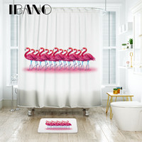 Wholesale plastic for floor mats resale online - New Design Flamingo Shower Curtain Waterproof Polyester Fabric Bath Curtain For The Bathroom With Plastic Hooks Floor Mat