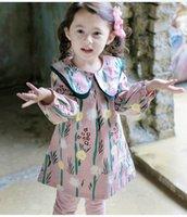 Wholesale Dress Lapel Long Sleeve Princess - 2018 Spring New Girl Dresses lapel printing Cotton Long Sleeve Princess Dress Children Clothing 1-5Y GTQ884