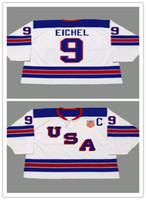 ingrosso usa vintage-Personalizzato 9 JACK EICHEL 2014 USA Retro Vintage Hockey Maglie Economici Mens Uniformi Cucite Impiccagione Buon Quanlity Ordine Della Miscela